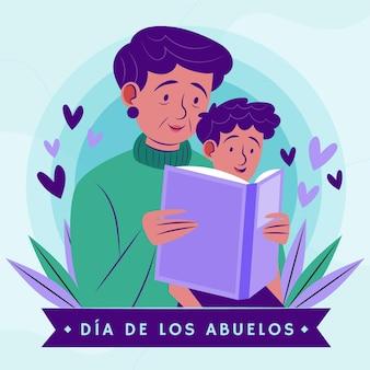 Ilustración orgánica plana dia de los abuelos.