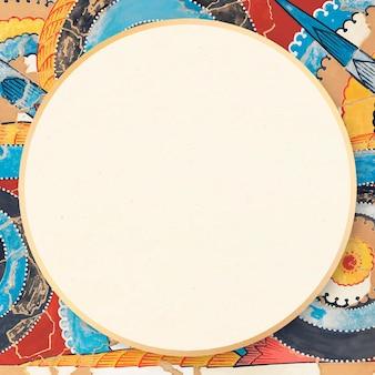 Ilustración ornamental de colorido marco vintage bohemio