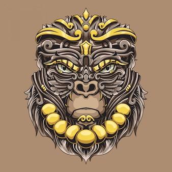 Ilustración ornamental de gorila