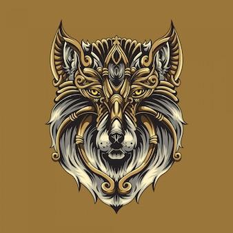 Ilustración ornamental de lobo