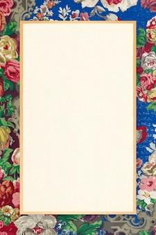 Ilustración ornamental de vector de marco de patrón floral colorido