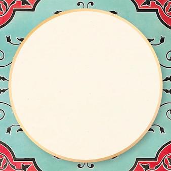 Ilustración ornamental de vector de marco vintage verde menta