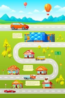 Ilustración ortogonal de la ciudad del automóvil