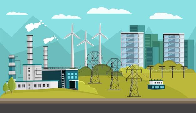 Ilustración ortogonal de generación de energía