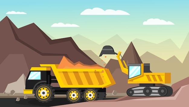 Ilustración ortogonal de la industria minera