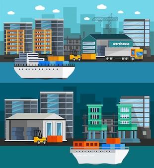 Ilustración ortogonal del puerto marítimo