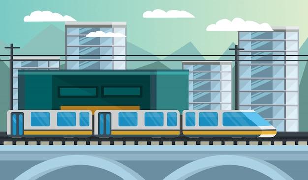 Ilustración ortogonal de transporte ferroviario