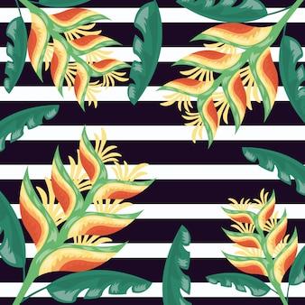 Ilustración oscura de hojas tropicales