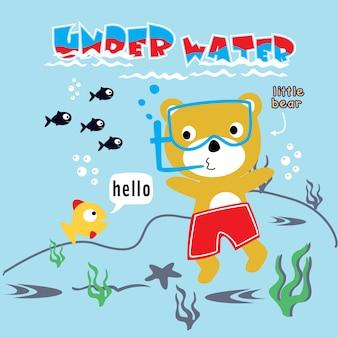 Ilustración con oso de dibujos animados de buceo.
