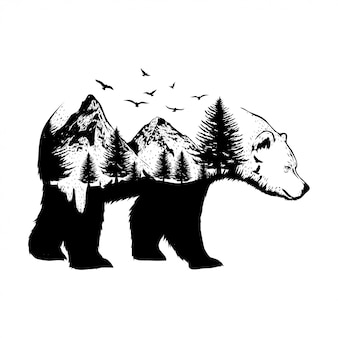Ilustración de un oso con fondo de bosque