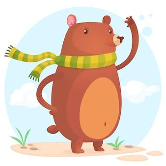 Ilustración de oso gracioso de dibujos animados