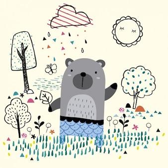 Ilustración de un oso en un jardín