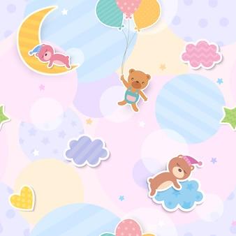 Ilustración de oso lindo y diseño de globo y nubes a patrones sin fisuras
