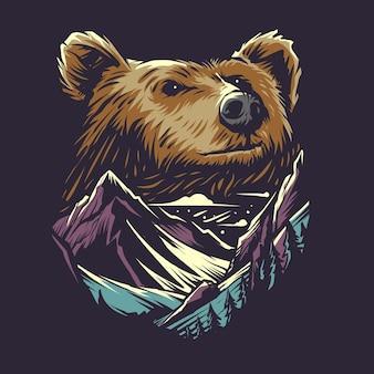 Ilustración de oso y montaña