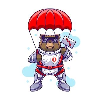 Ilustración de oso paracaidista