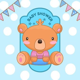 Ilustración de oso de peluche para baby shower