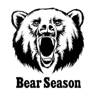 Ilustración de oso rugiente