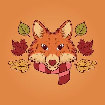 Ilustración de otoño fox