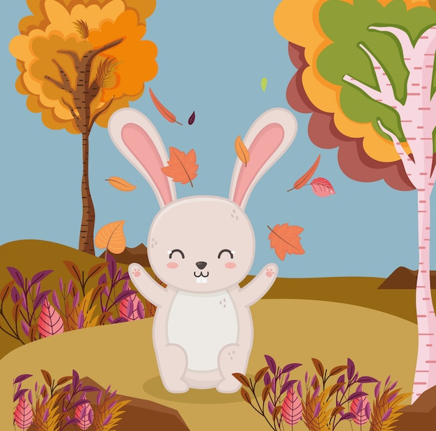 Ilustración de otoño de hojas caídas conejo follaje de árboles forestales