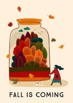 Ilustración de otoño con linda mujer y perro.