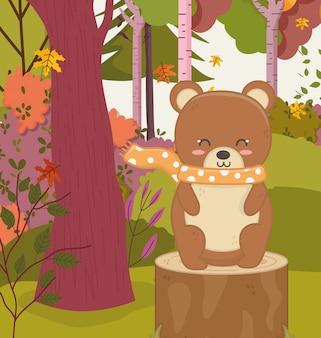 Ilustración de otoño de lindo oso sentado tocón bosque