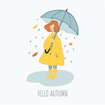 Ilustración de otoño, niña con paraguas