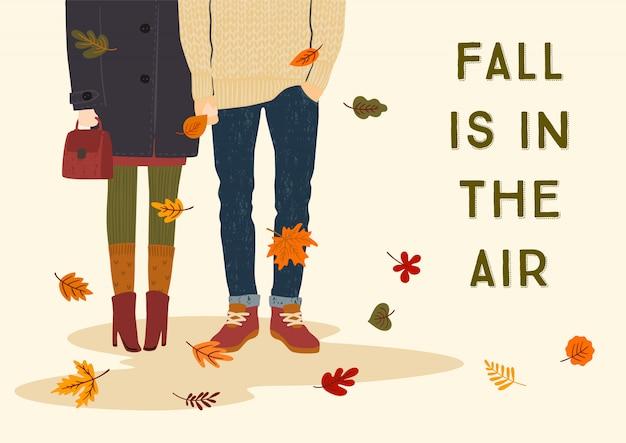 Ilustración de otoño con pareja romántica