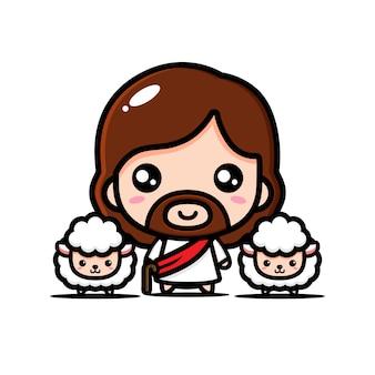 Ilustración de ovejas pastor jesus