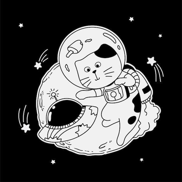 Ilustración de ovni y gato