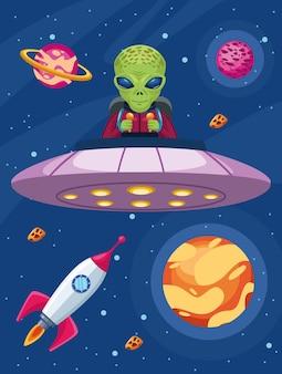 Ilustración de ovni volador alienígena