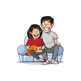Ilustración de padre e hija que sostienen gatos lindos están sentados en el sofá.