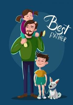 Ilustración de padre, hijo e hija