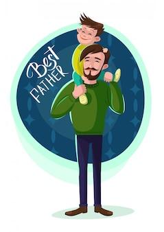 Ilustración de padre con hijo