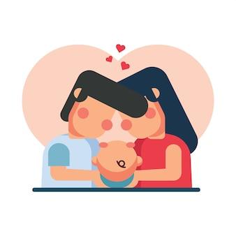 Ilustración de padres sosteniendo a su bebé