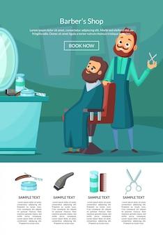 Ilustración de página de aterrizaje con barbero haciendo un corte de pelo a un cliente insalonwith mesa y espejo