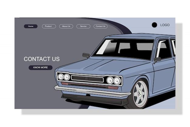 Ilustración de página de aterrizaje de coche de estilo plano moderno