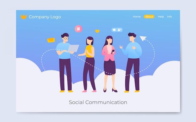 Ilustración de página de aterrizaje de comunicación de medios sociales de estilo plano moderno