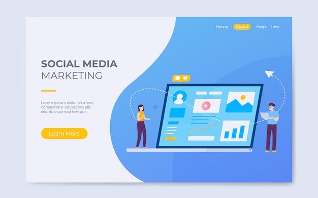 Ilustración de página de aterrizaje de marketing en redes sociales