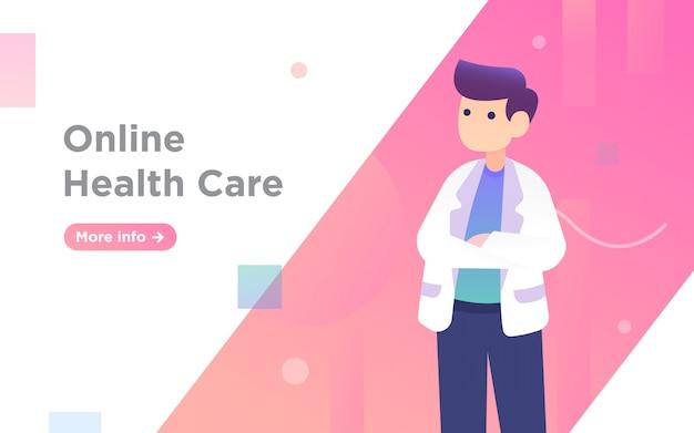 Ilustración de página de aterrizaje de médico de salud en línea