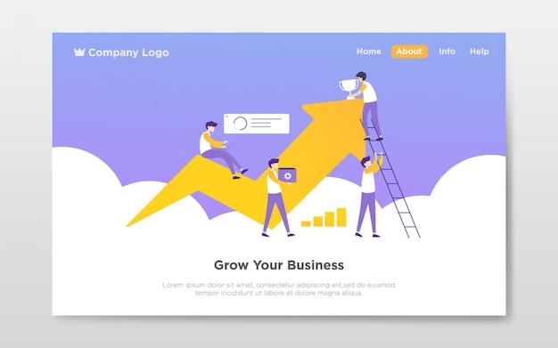 Ilustración de la página de aterrizaje del trabajo en equipo
