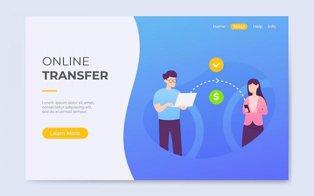 Ilustración de página de aterrizaje de transferencia en línea de estilo plano moderno