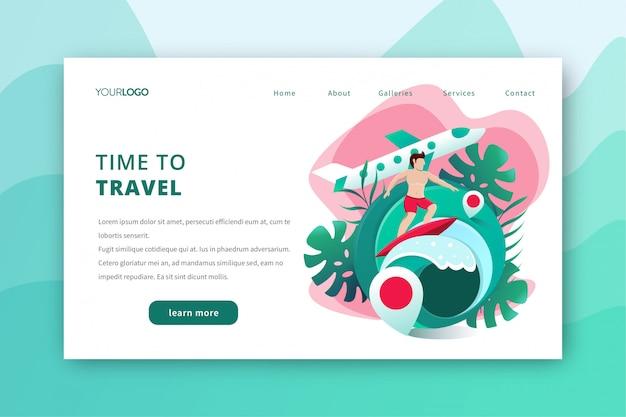 Ilustración de página de aterrizaje de viaje con tema de surf de verano