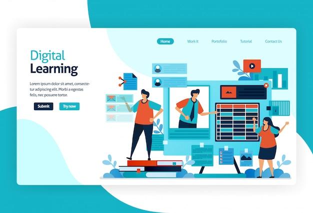 Ilustración de la página de destino para el aprendizaje digital