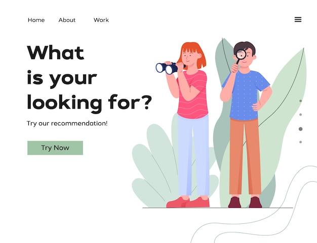 Ilustración de la página de destino del concepto de búsqueda