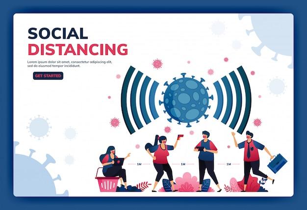 Ilustración de la página de destino del distanciamiento social y los nuevos protocolos normales para el trabajo y las actividades durante una pandemia.