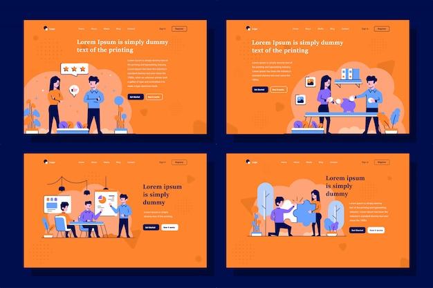 Ilustración de la página de destino de negocios y finanzas en estilo de diseño plano y de contorno