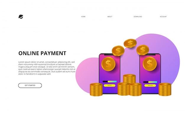 Ilustración de página de destino de pago en línea concepto de comercio electrónico y finanzas empresariales