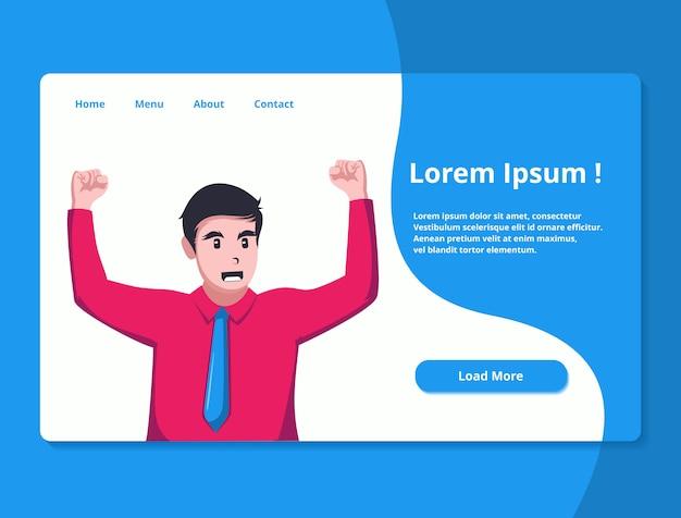 Ilustración de la página de destino para el sitio web del tema de negocios