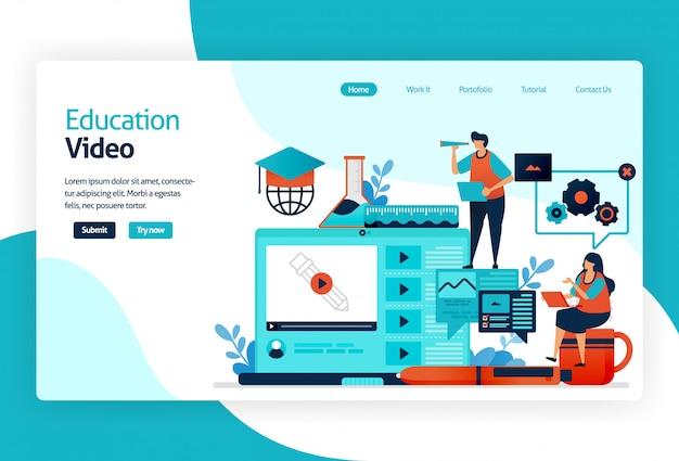 Ilustración de la página de destino para el video educativo