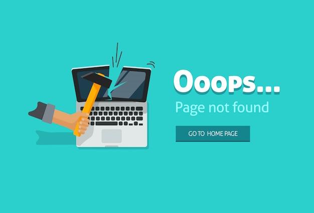 Ilustración de página de error 404 sobre fondo azul